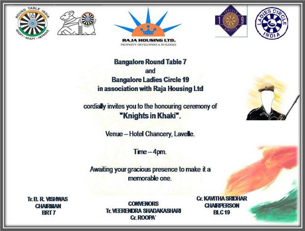 Bangalore round table 7 to honor knights in khaki round for 12 rules of the knights of the round table