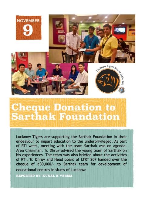 Cheque Donation to Sarthak Foundation