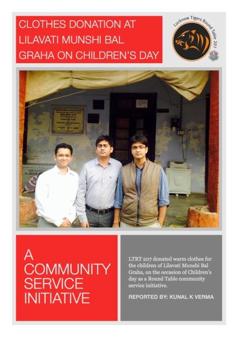 Clothes donation at lilavati Munshi Bal Graha on Children's Day