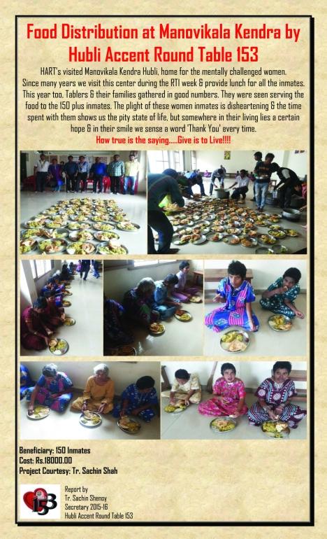 Food Distribution at Manovikala Kendra by Hubli Accent Round Table 153