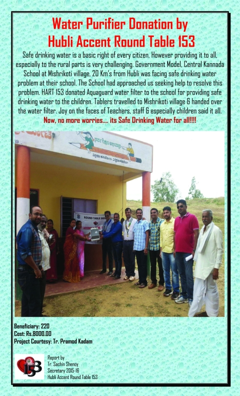 Water Purifier Donation by Hubli Accent Round Table 153
